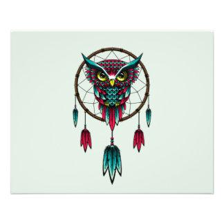 """Owl Bird Dreamcatcher Art 4.5"""" X 5.6"""" Flyer"""