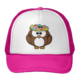 Owl Bird Feather Flowers Personalize Name Custom Trucker Hat