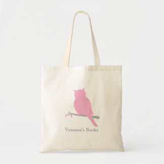 Owl bird silhouette pink library bag