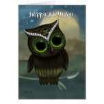 Owl Birthday Greeting Card, Fantasy Night Owl