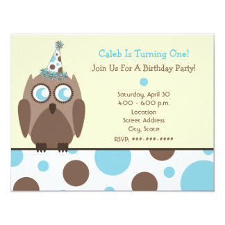 Owl Birthday Party Invite Blue & Brown Polka Dots
