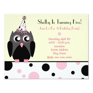 "Owl Birthday Party Invite Pink & Black Polka Dots 4.25"" X 5.5"" Invitation Card"