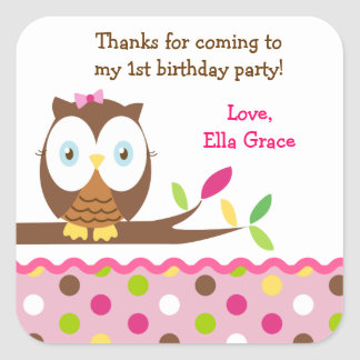 Owl Birthday Party Thank you Favour Stickers Label