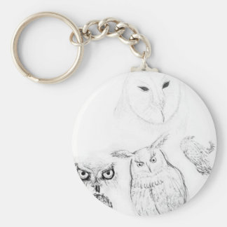 Owl Black and White Drawing Montage Basic Round Button Key Ring