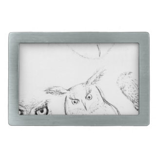 Owl Black and White Drawing Montage Belt Buckle