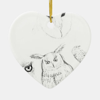Owl Black and White Drawing Montage Ceramic Heart Decoration