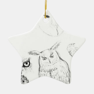 Owl Black and White Drawing Montage Christmas Ornament