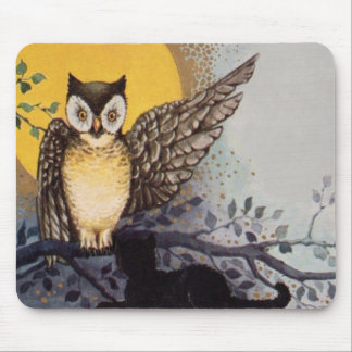 Owl Black Cat Full Moon Tree Night Mouse Mat