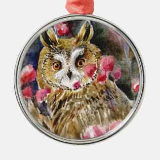 Owl blossom watercolor painting christmas ornaments