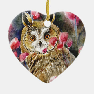 Owl blossom watercolor painting christmas ornament