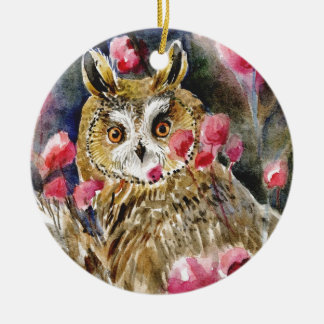 Owl blossom watercolor painting round ceramic decoration