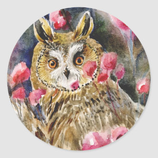 Owl blossom watercolor painting round sticker