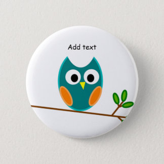 Owl: Blue and Gold Owl Template 6 Cm Round Badge
