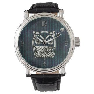 Owl Blue Grunge Leather Straps Watch
