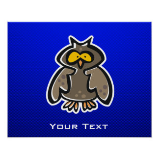 Owl Blue Poster