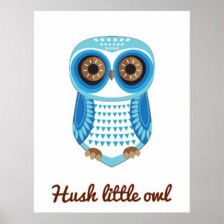 Owl Blue Poster Hush