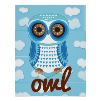 Owl Blue Poster with letter