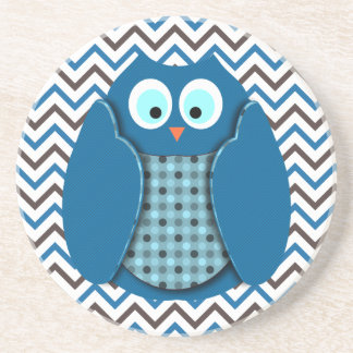 Owl - Blue with Polka Dots Sandstone Coaster