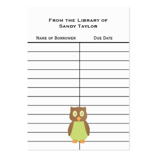 Owl Book Insert Card. Pack Of Chubby Business Cards