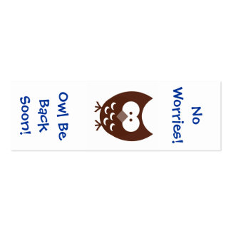 Owl Bookmark! Pack Of Skinny Business Cards