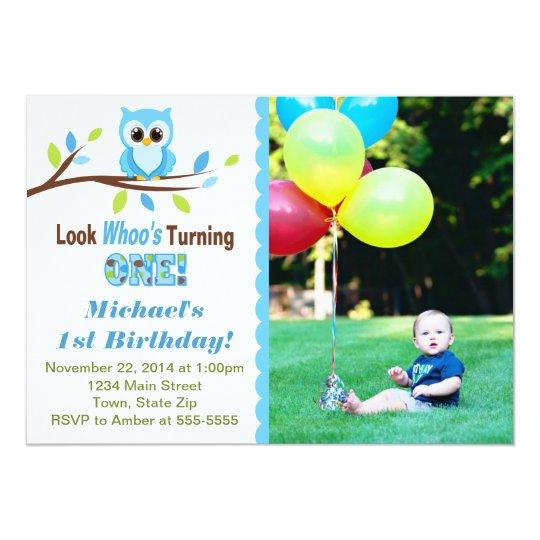 Owl Boy 1st Birthday Invitation 5x7 Photo Card