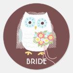 Owl Bride - Fun Illustration with Custom Text Round Sticker