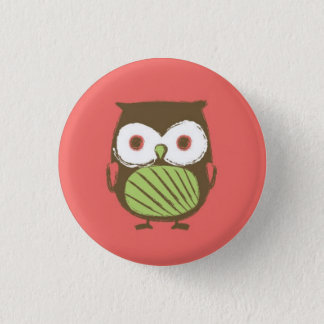 """Owl Button - 1.25"""" (red)"""