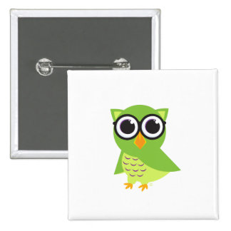 Owl Button Square