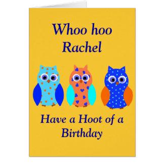 Owl Cards cute, customizable, birthday, add name