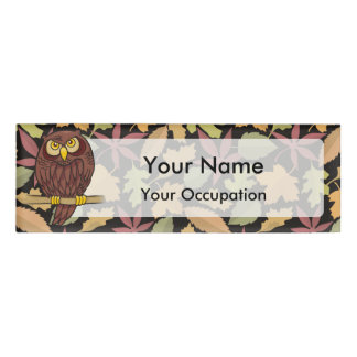 Owl Cartoon on dark background Name Tag