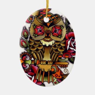owl ceramic oval decoration