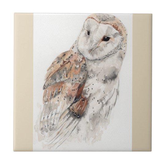 Owl ceramic tile