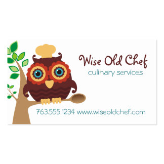 Owl chef wooden spoon cooking baking business card
