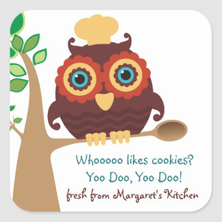 Owl chef wooden spoon cooking baking food label square sticker