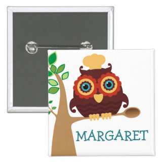 Owl chef wooden spoon cooking baking name tag 15 cm square badge