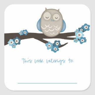 Owl & Cherry Blossoms {Blue} | Bookplates Square Sticker