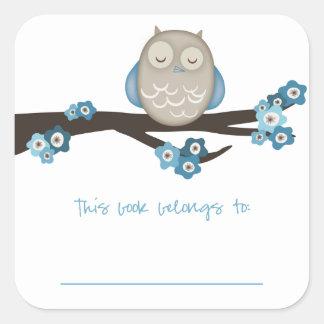 Owl & Cherry Blossoms {Blue} | Bookplates Square Sticker