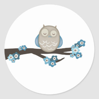Owl & Cherry Blossoms {Blue} | Stickers