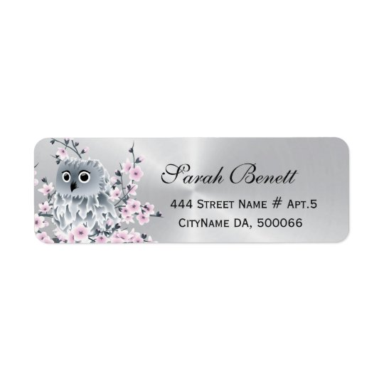 Owl Cherry Blossoms Silver
