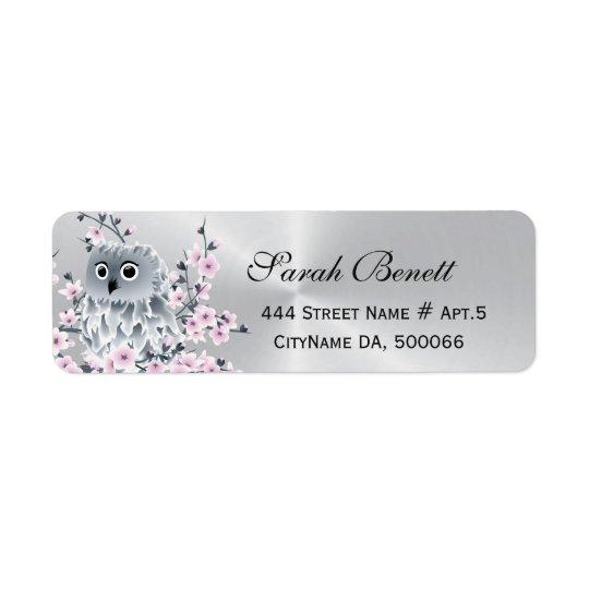 Owl Cherry Blossoms Silver Return Address Label