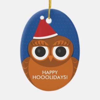 Owl Christmas Santa hat ornament