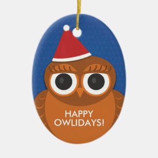 Owl Christmas Santa hat ornament - Happy Owlidays