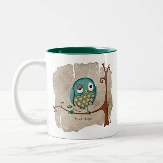Owl Coffee Wake Up Call Two-Tone Coffee Mug