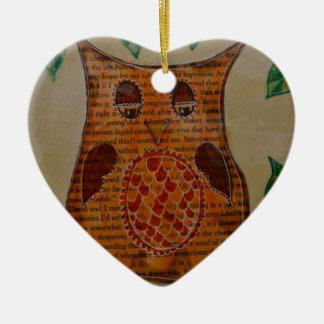 Owl Collage Ceramic Heart Decoration