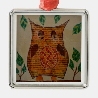 Owl Collage Silver-Colored Square Decoration