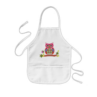 Owl colorful patchwork art decorative kids apron