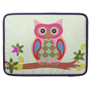 Owl colorful patchwork art macbook pro sleeve