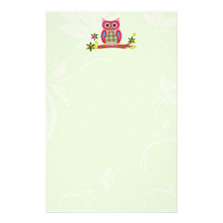 Owl colorful patchwork decorative art stationery
