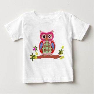 Owl colorful patchwork decorative infant t-shirt