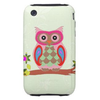 Owl colorful patchwork decorative iphone 3g case tough iPhone 3 case